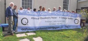 Quakers with their banner: Gathering at Milford Haven Friends Meeting House (Pic. Maura Hazelden)