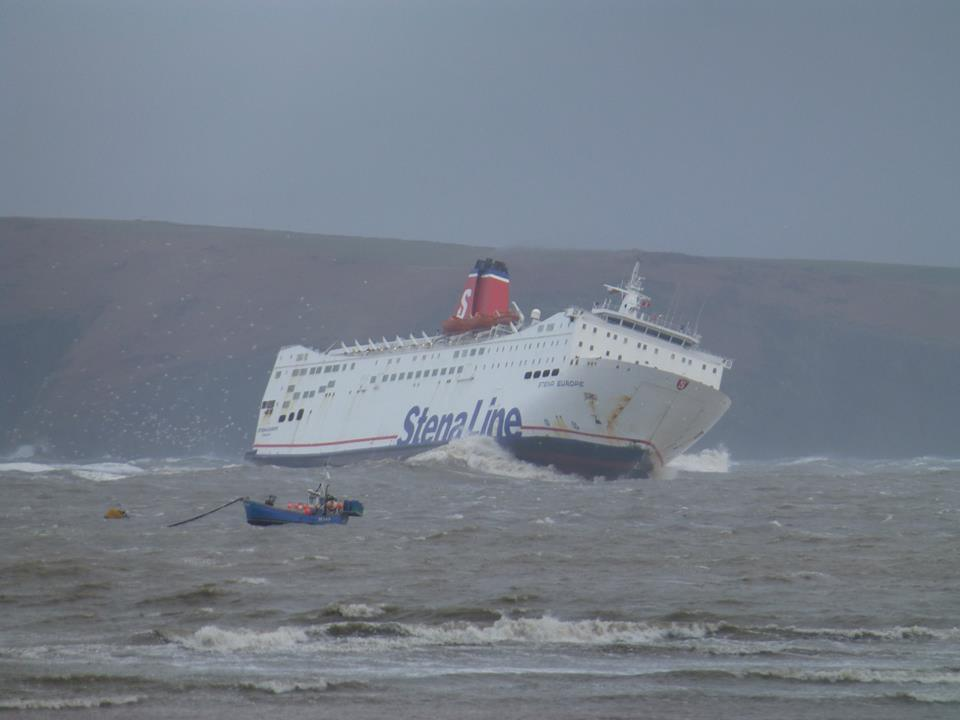 Rough ride: The Stena Europe. (Photo Lisa Roberts/Facebook)
