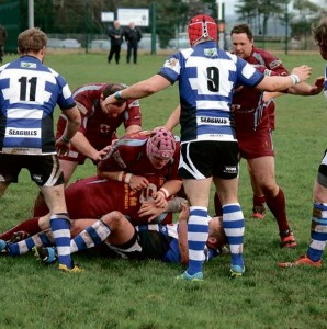 Fishguard scrum half: Rhodri Morgans, Matthew George and Jason Davies